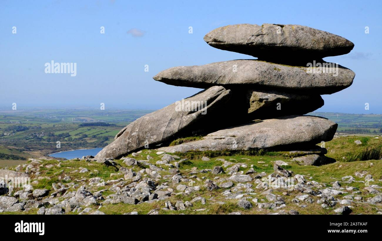 Boulders on peak of Showery Tor on Bodmin Moor near Camelford, Cornwall, UK. Stock Photo
