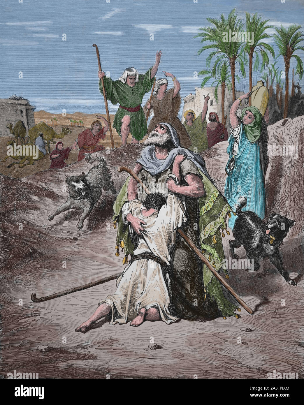 The return of the prodigal son. Son in the arms of his father. Engraving. Luke 15:20. Bible Illustration by Gustave Dore. 19th century. Later colourat Stock Photo