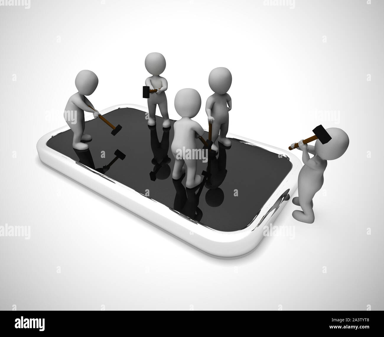 Mobile smartphone repair or overhaul. Fixing the hardware or application - 3d illustration Stock Photo