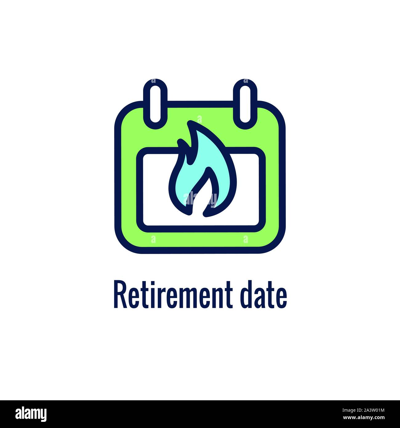 Retirement Savings Icon w retiring and monetary images Stock Vector