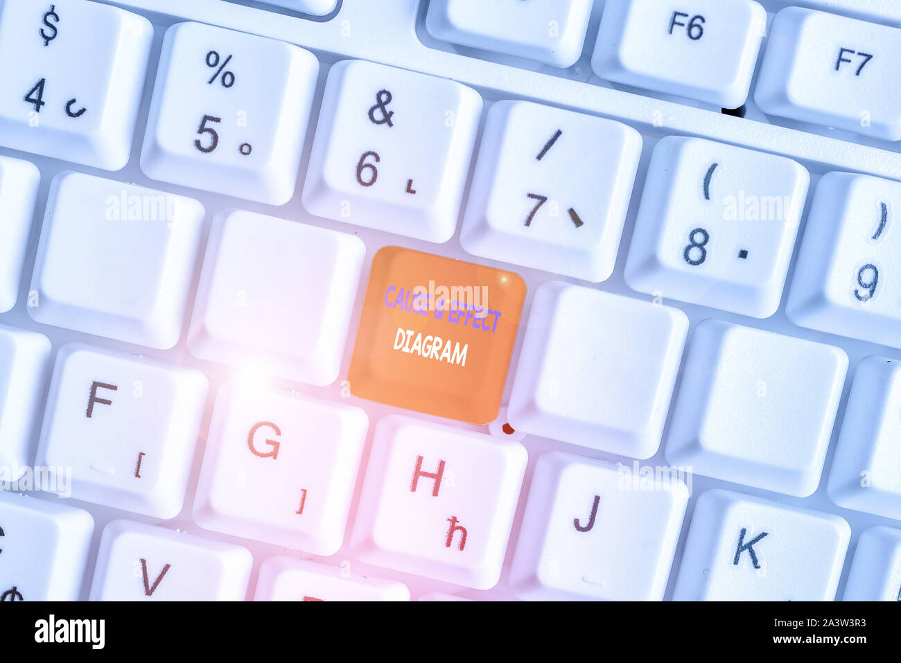 Text sign showing Cause And Effect Diagram. Business photo showcasing Visualization tool to categorize potential causes White pc keyboard with empty n Stock Photo