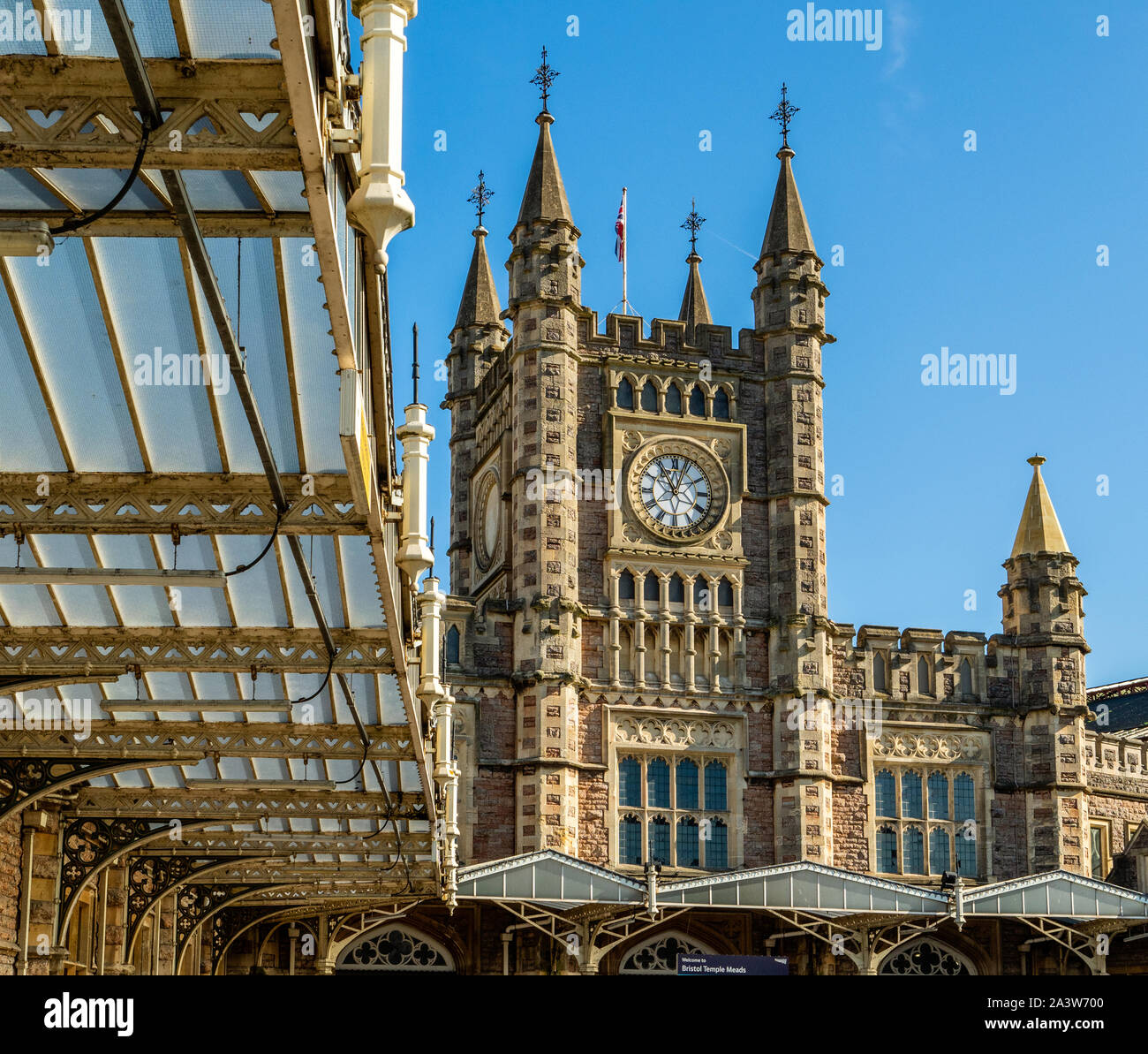 Main entrance to Temple Meads station Bristol UK with its gothic facade and clock tower Stock Photo
