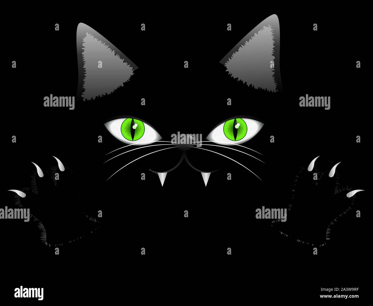 Cartoon Halloween Cat Face With Green Eyes And Paws On Black Background Stock Vector Image Art Alamy