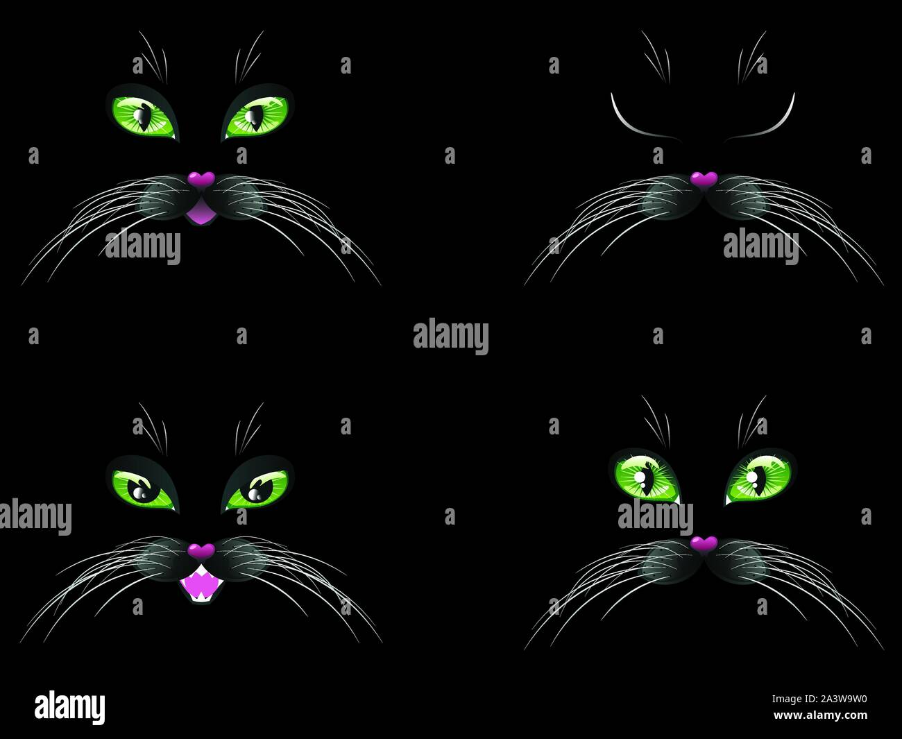 Cute Cartoon Black Cat Face With Stylized Green Eyes Stock Vector