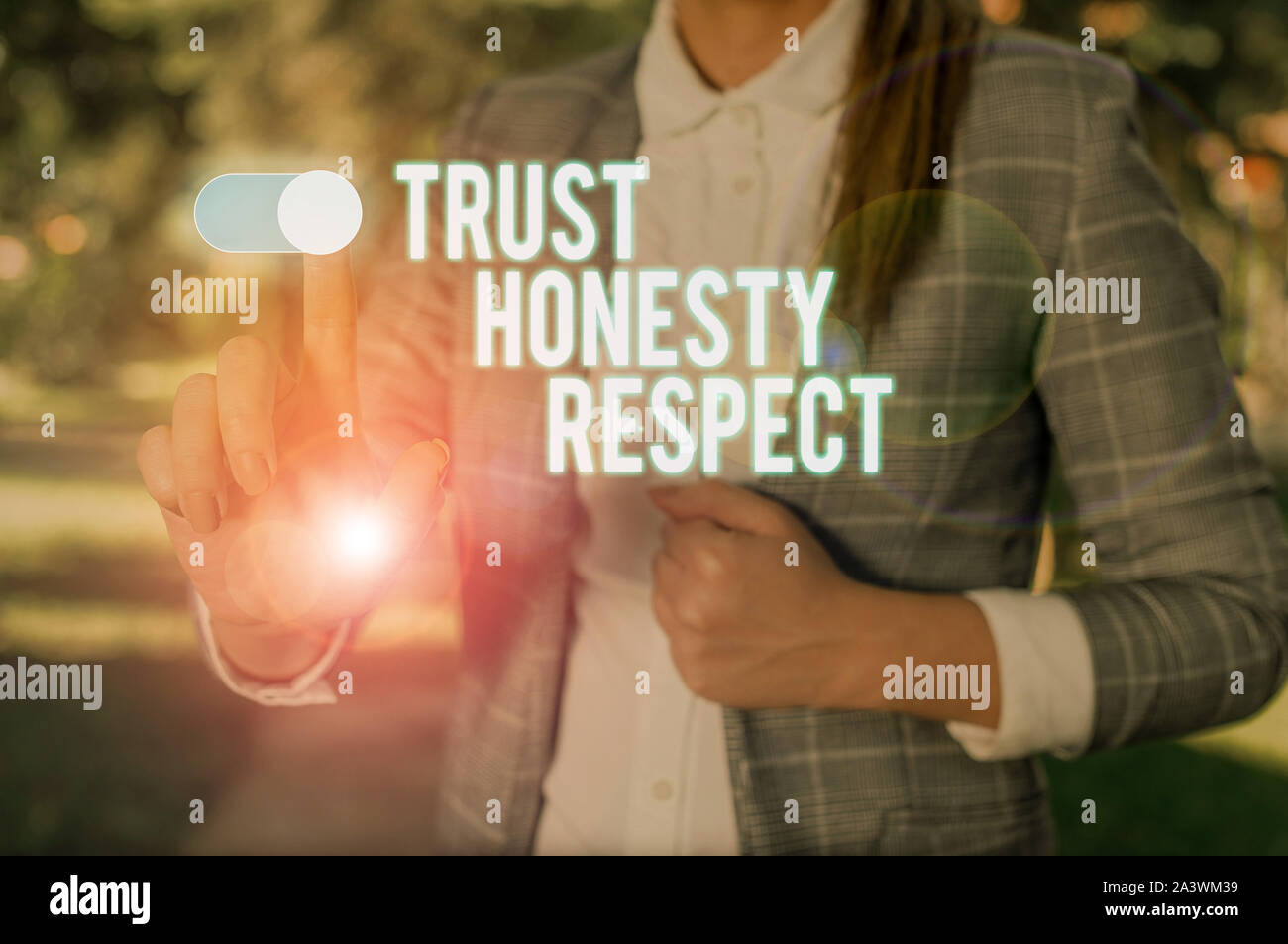 Text sign showing Trust Honesty Respect. Business photo showcasing Respectable Traits a Facet of Good Moral Character Woman wear formal work suit pres Stock Photo
