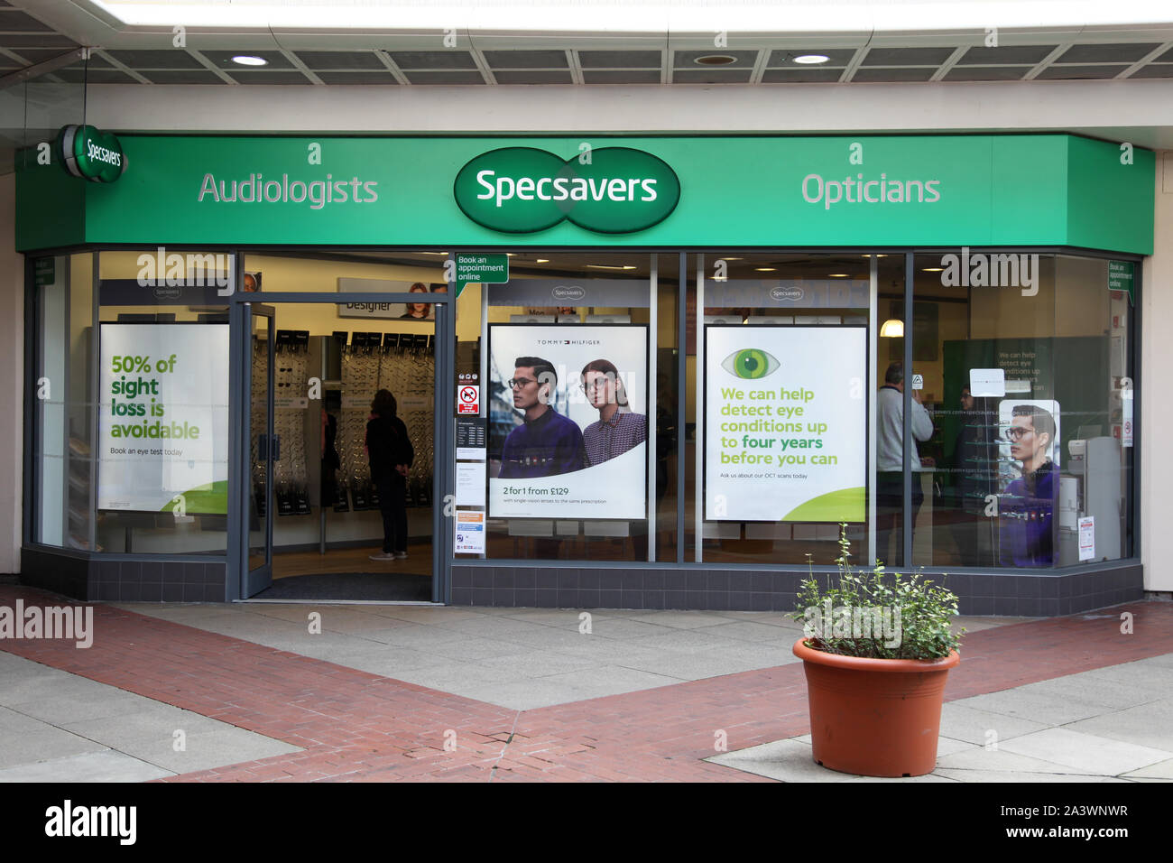 Leatherhead, Surrey, UK - Specsavers Opticians and Audiologist high street shop in Swan Centre, 2019 Stock Photo
