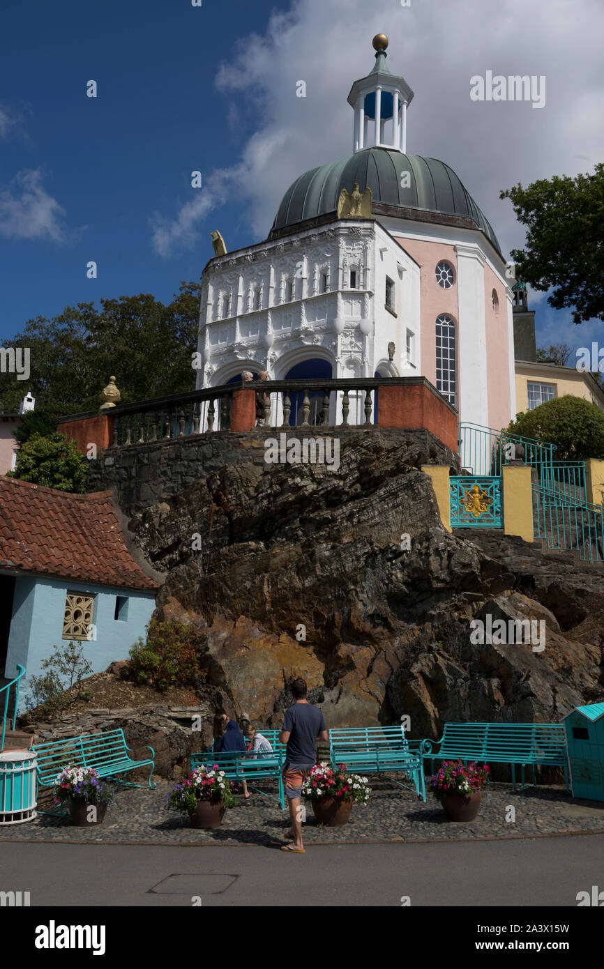 Portmeirion village and spa hotel, in Italian style,created by the Welsh architect Clough Williams-Ellis by the estuary of the River Dwyryd, is one of Stock Photo