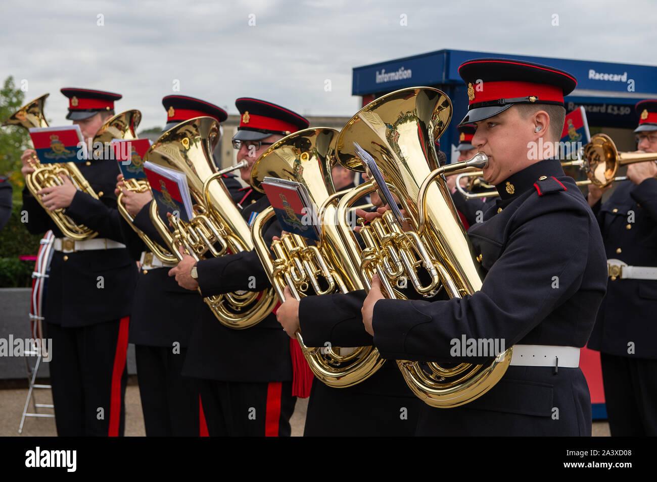 Autumn Racing Weekend & Ascot Beer Festival, Ascot Racecourse, Ascot, Berkshire, UK. 5th October, 2019. Tidworth Army Band play music for racegoers. Credit: Maureen McLean/Alamy Stock Photo
