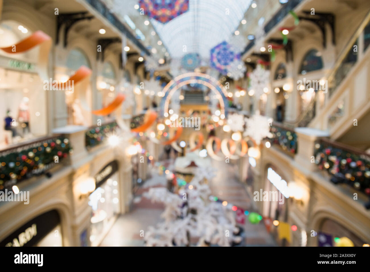 Blurred Background Of Hall In Shopping Center With Christmas