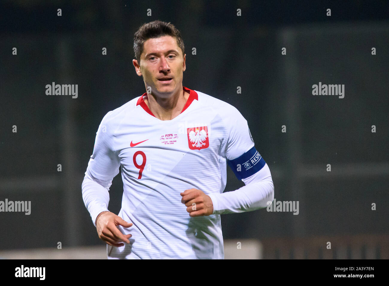 RIGA, LATVIA. 10th October, 2019. Robert Lewandowski, during UEFA EURO 2020 Qualification game between national football team of Latvia and team Poland. Credit: Gints Ivuskans/Alamy Live News Stock Photo