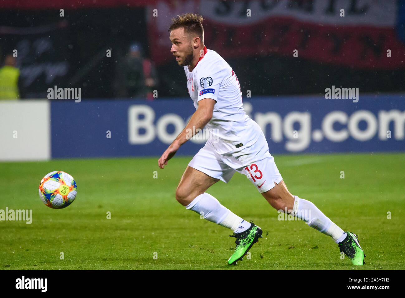 RIGA, LATVIA. 10th October, 2019. Maciej Rybus, during UEFA EURO 2020 Qualification game between national football team of Latvia and team Poland. Credit: Gints Ivuskans/Alamy Live News Stock Photo