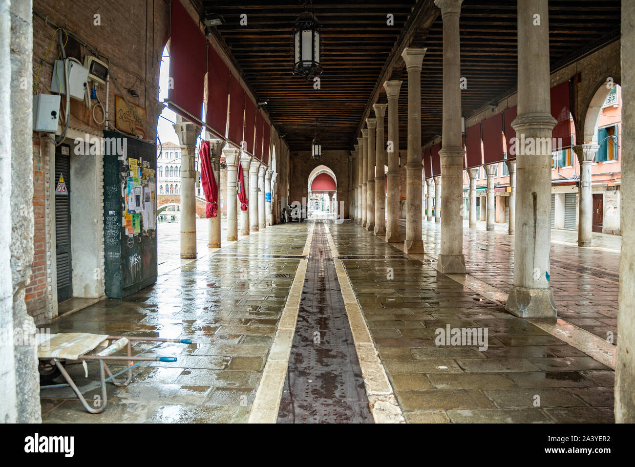 The famous fish market near the Rialto Bridge in Venice - Italy, when it is empty and clean at the end of a working day. Stock Photo