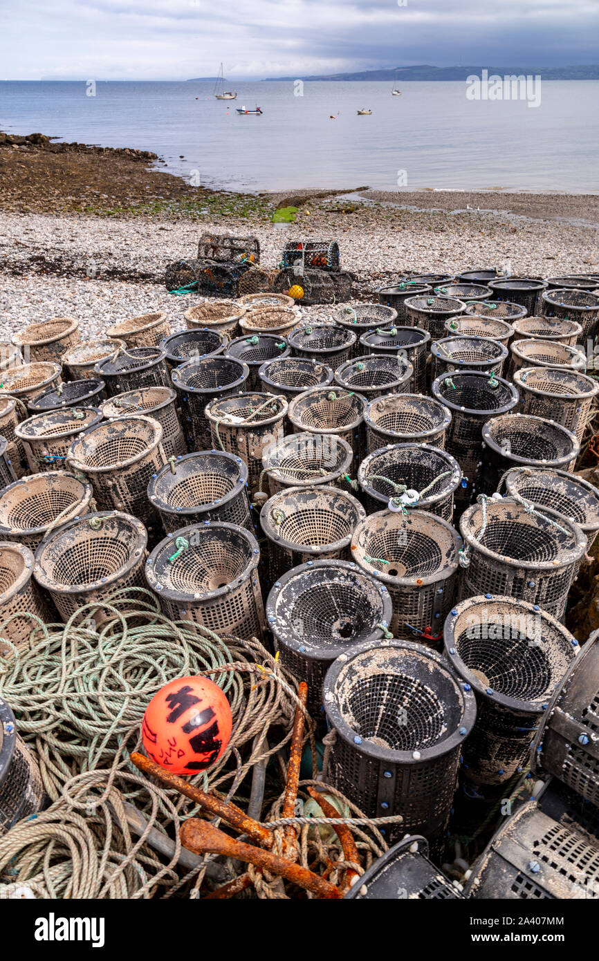 Lobster pots at Moelfre, Anglesey, North Wales Stock Photo