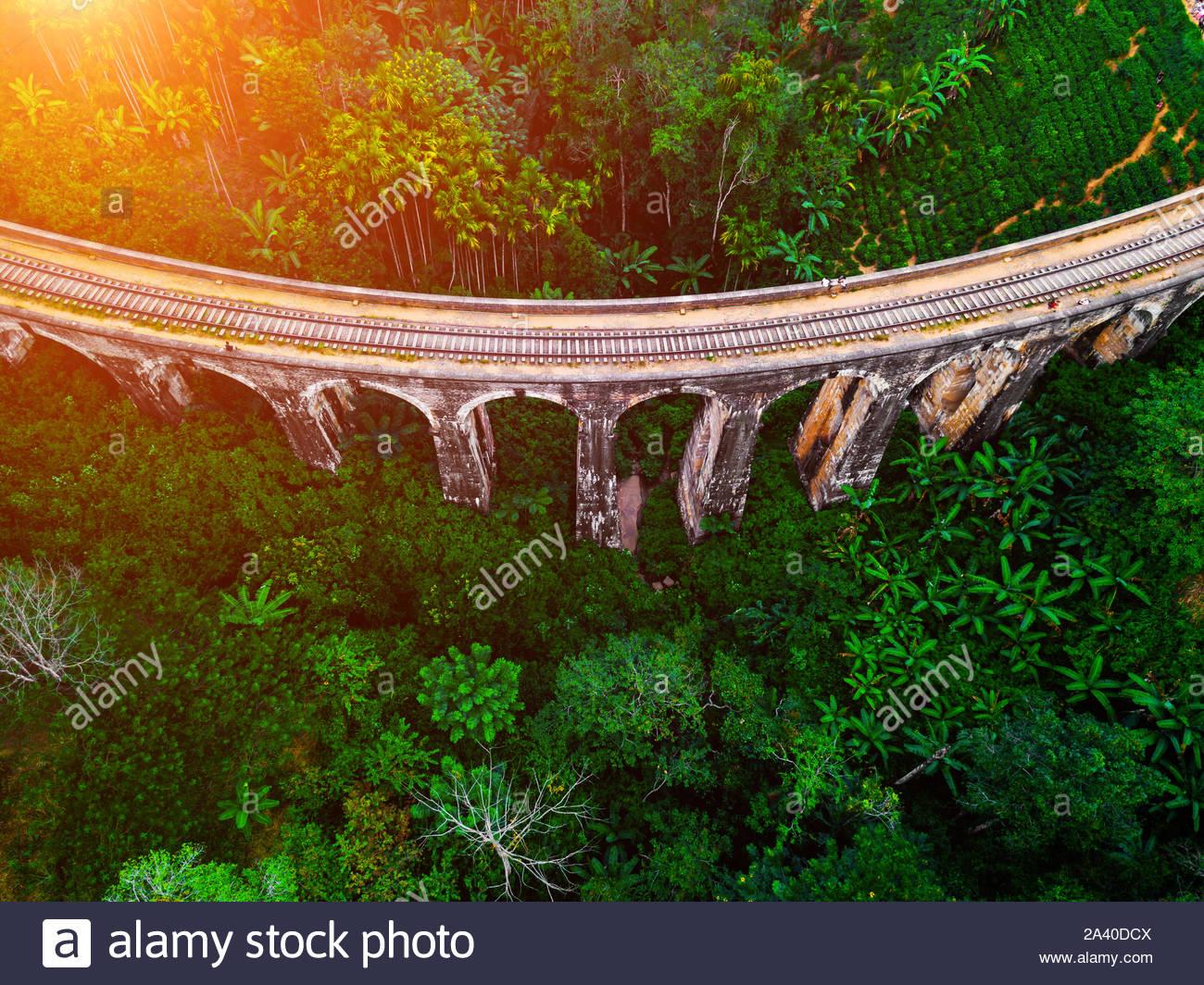 Aerial view of Nine Arches Bridge in Ella, Sri Lanka. Drone photo. Stock Photo