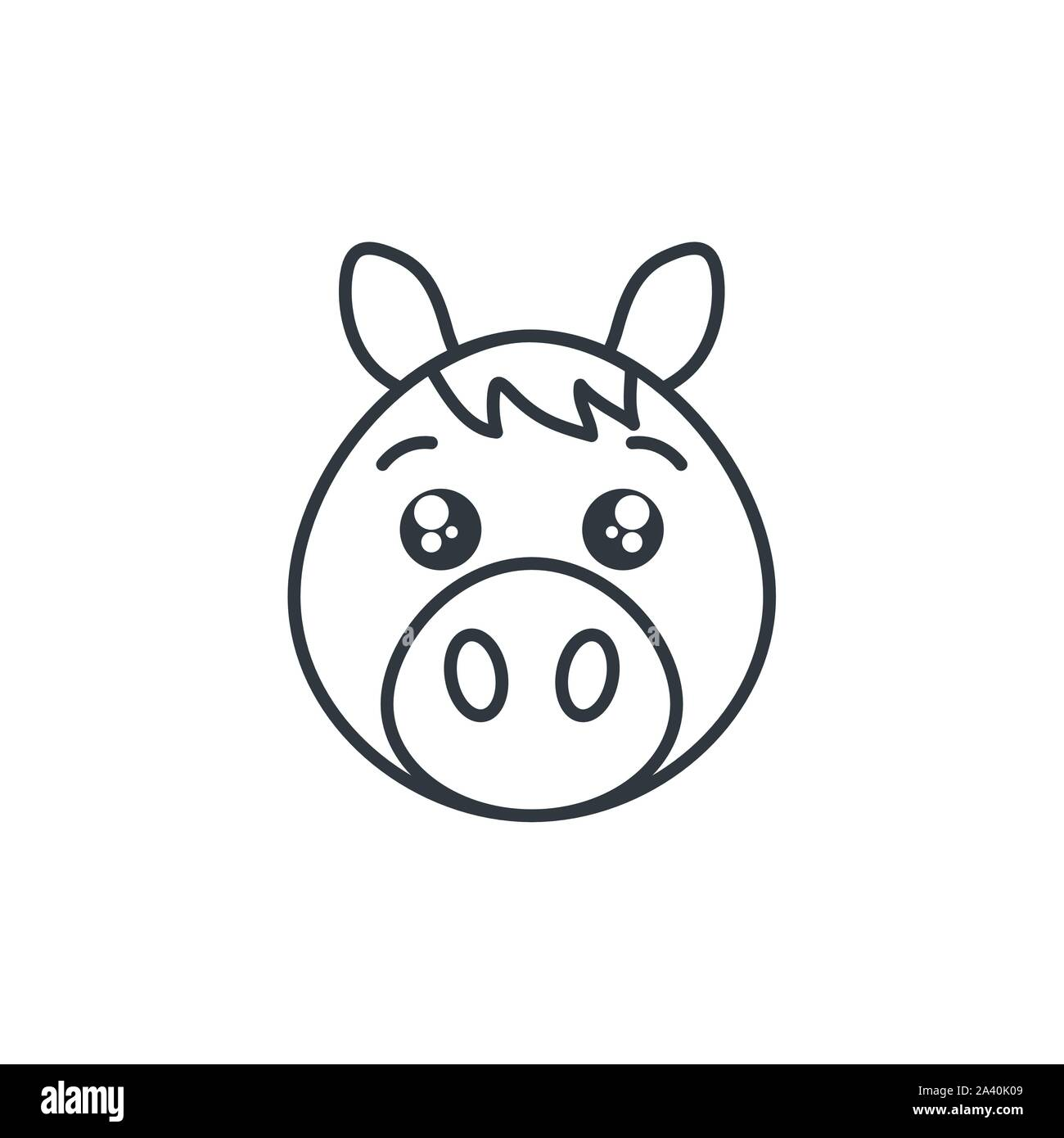 Cute Horse Animal Farm Line Style Icon Vector Illustration Design Stock Vector Image Art Alamy
