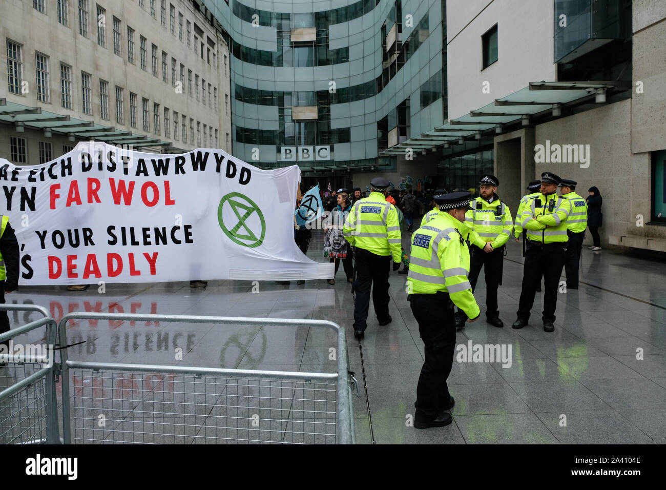 BBC, Portland Place, London, UK. 11th Oct, 2019. Extinction Rebellion protesters outside the BBC in London. Credit: Matthew Chattle/Alamy Live News Stock Photo