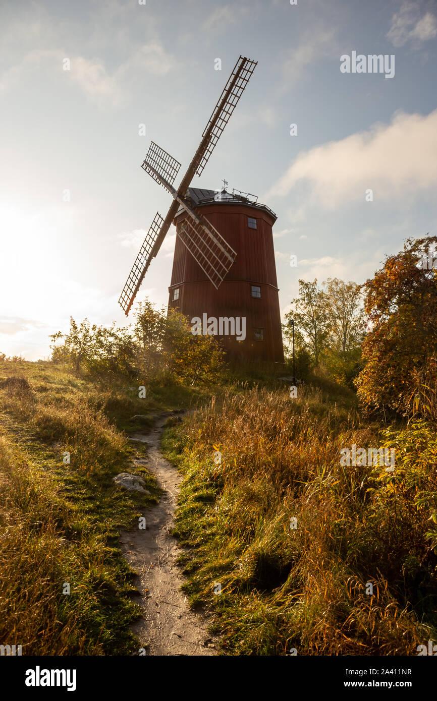 Windmill in Vallentuna Väsby kvarn Stock Photo