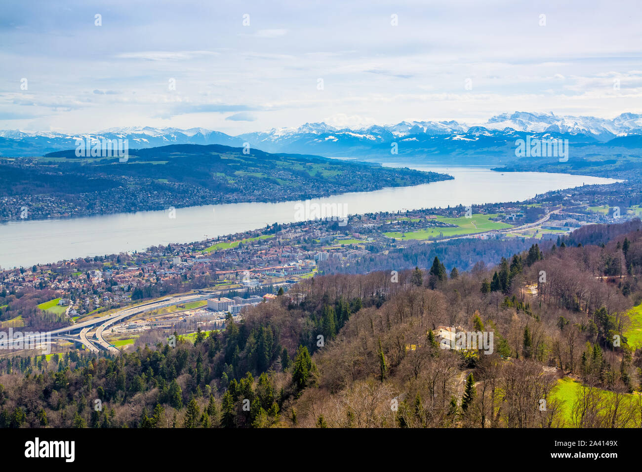 Panorama of Zurich city and lake from odservation tower on Uetliberg mountain Stock Photo
