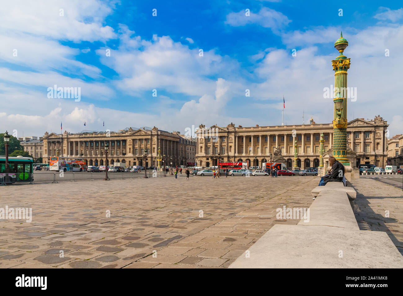 Nice panoramic view of the famous public square Place de la Concorde in Paris with the two identical stone palaces and the Rue Royal in the background. Stock Photo