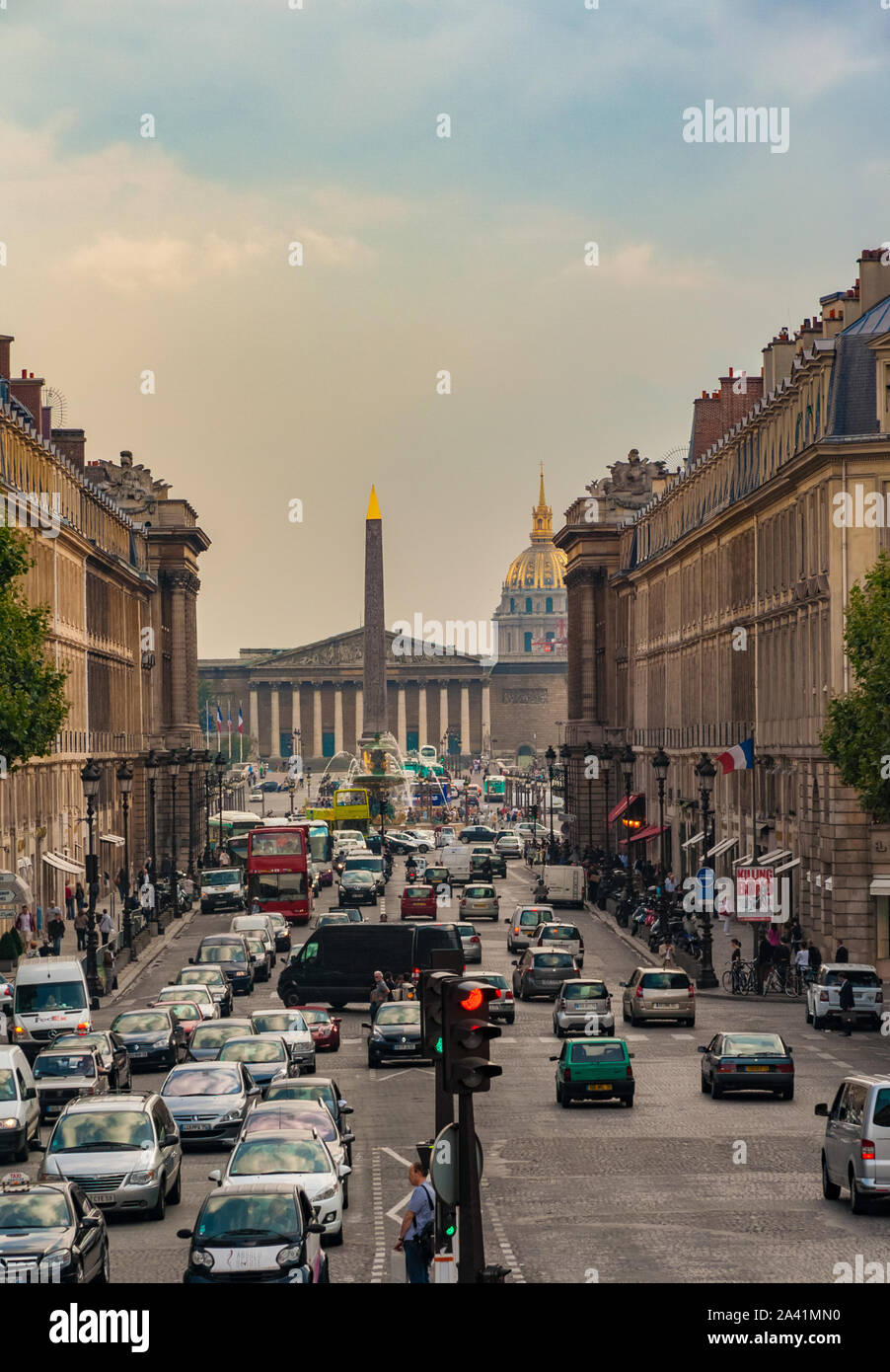 Perfect view of the street Rue Royal leading to the Place de la Concorde with the famous giant Egyptian obelisk in the centre and the Palais Bourbon... Stock Photo