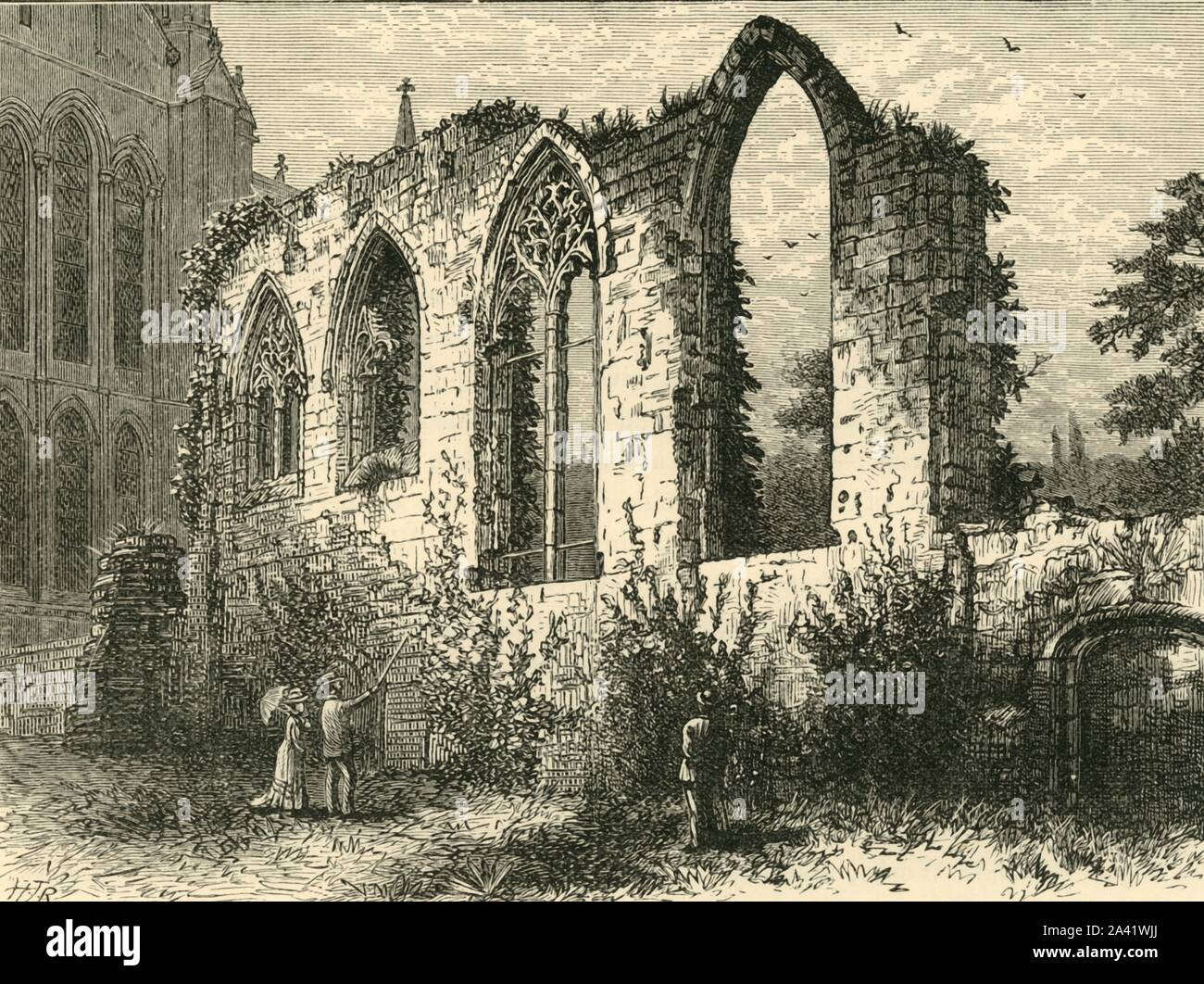 """'Ruins of the Guesten Hall', 1898. Guesten monastic guest hall, built c1320 at Worcester cathedral underwent plans for renovations by architect, George Street in 1854, the Dean and Chapter decided against repairs and the building was left to ruin.  From """"Our Own Country, Volume III"""". [Cassell and Company, Limited, London, Paris & Melbourne, 1898] Stock Photo"""