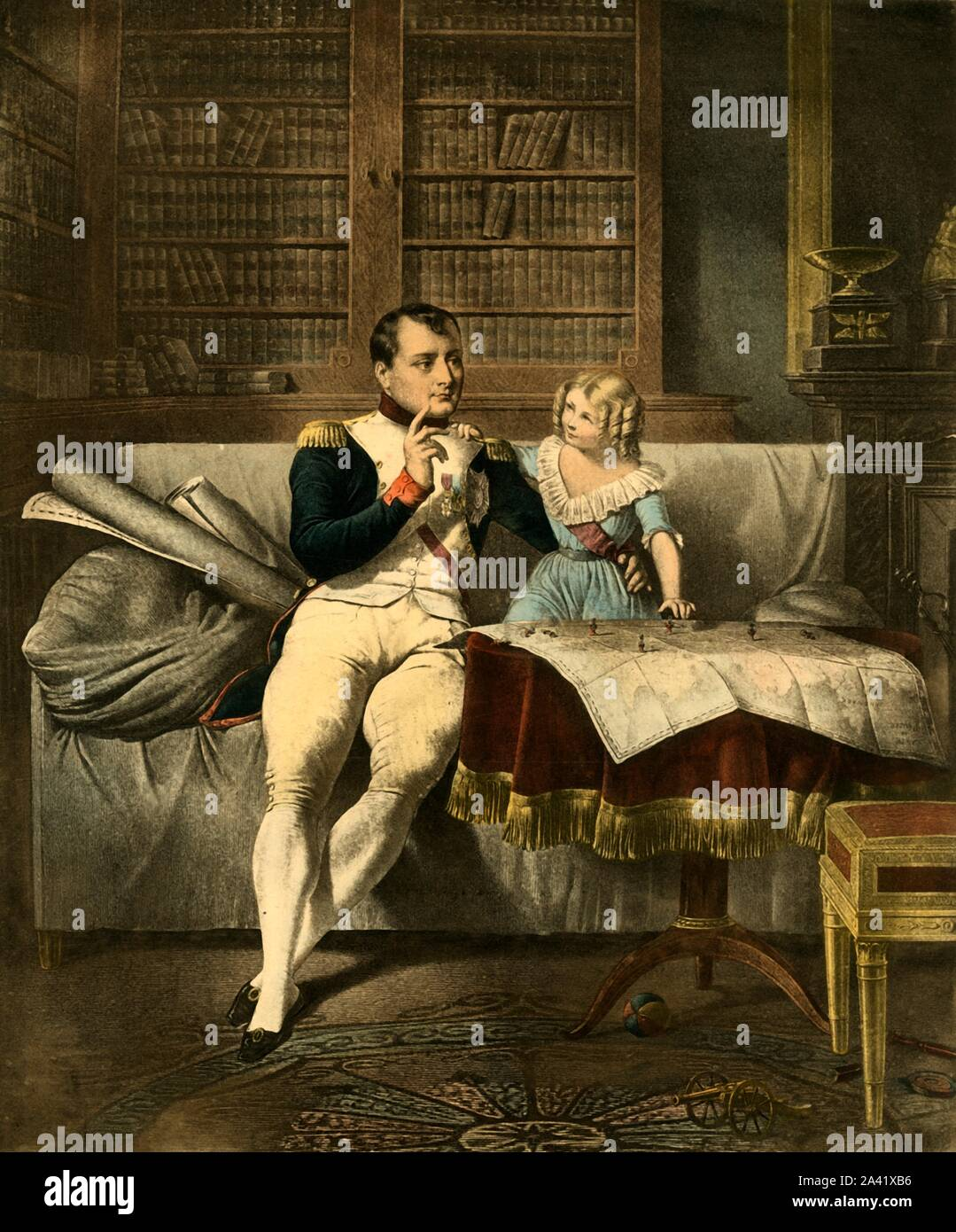 """'Le Cabinet de Napoleon', 19th century, (1921). 'Napoleon's Office'. The emperor Napoleon and a child look at maps and discuss military strategy. Despite the dress and ringlets, this may be his son, also named Napoleon, (1811-1832). It was common for boys to wear girls' clothes during this period. A toy cannon on the floor alludes to the many battles the emperor fought. From """"Napoleon"""", by Raymond Guyot, [H. Floury, Paris, 1921] Stock Photo"""