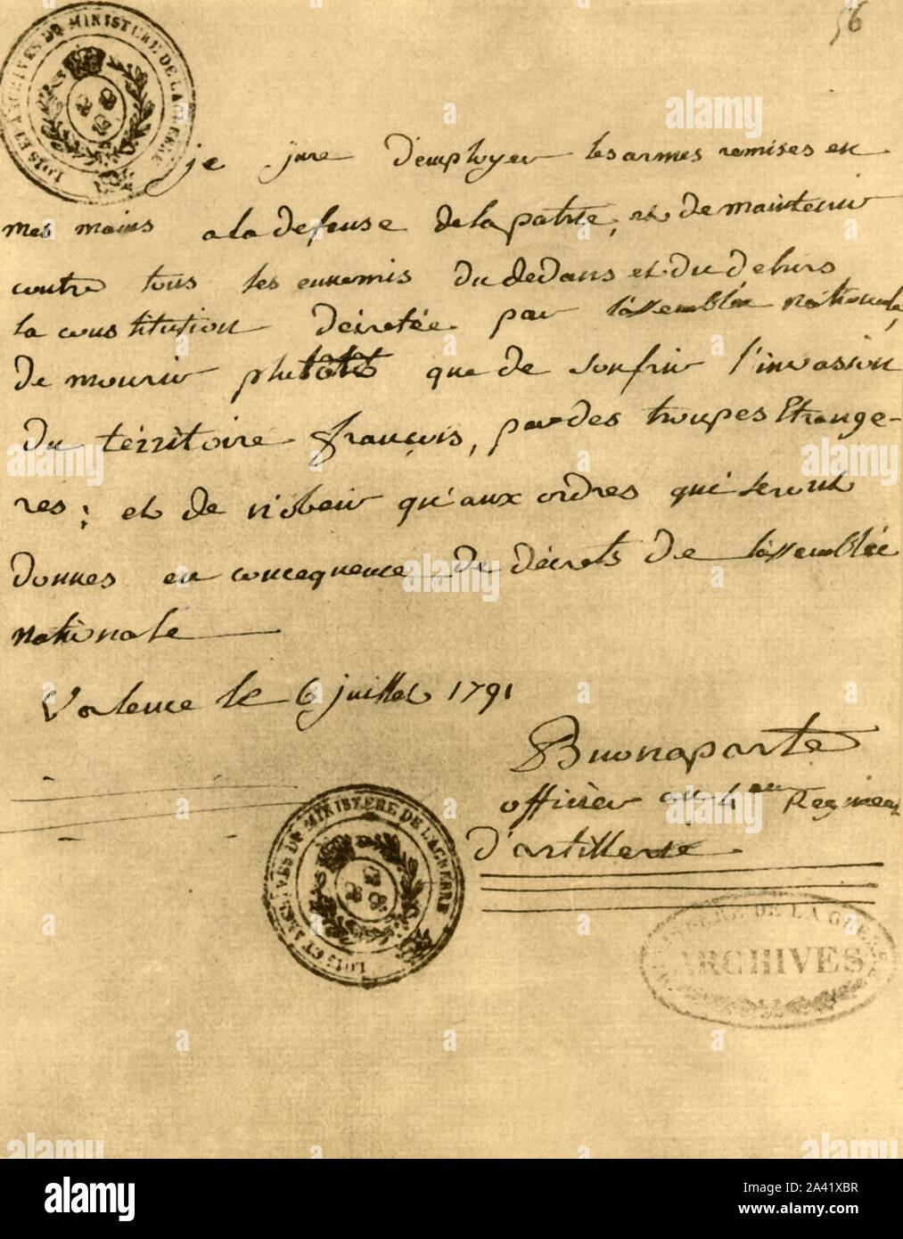 """Napoleon's constitutional oath, 6 July 1791, (1921). 'Serment de Bonaparte à la Constitution, 6 juillet 1791'. Oath signed by Napoleon Bonaparte (1769-1821), promising to be faithful to his country, the law and the king. Facsimile document from """"Napoleon"""", by Raymond Guyot. [H. Floury, Paris, 1921] Stock Photo"""