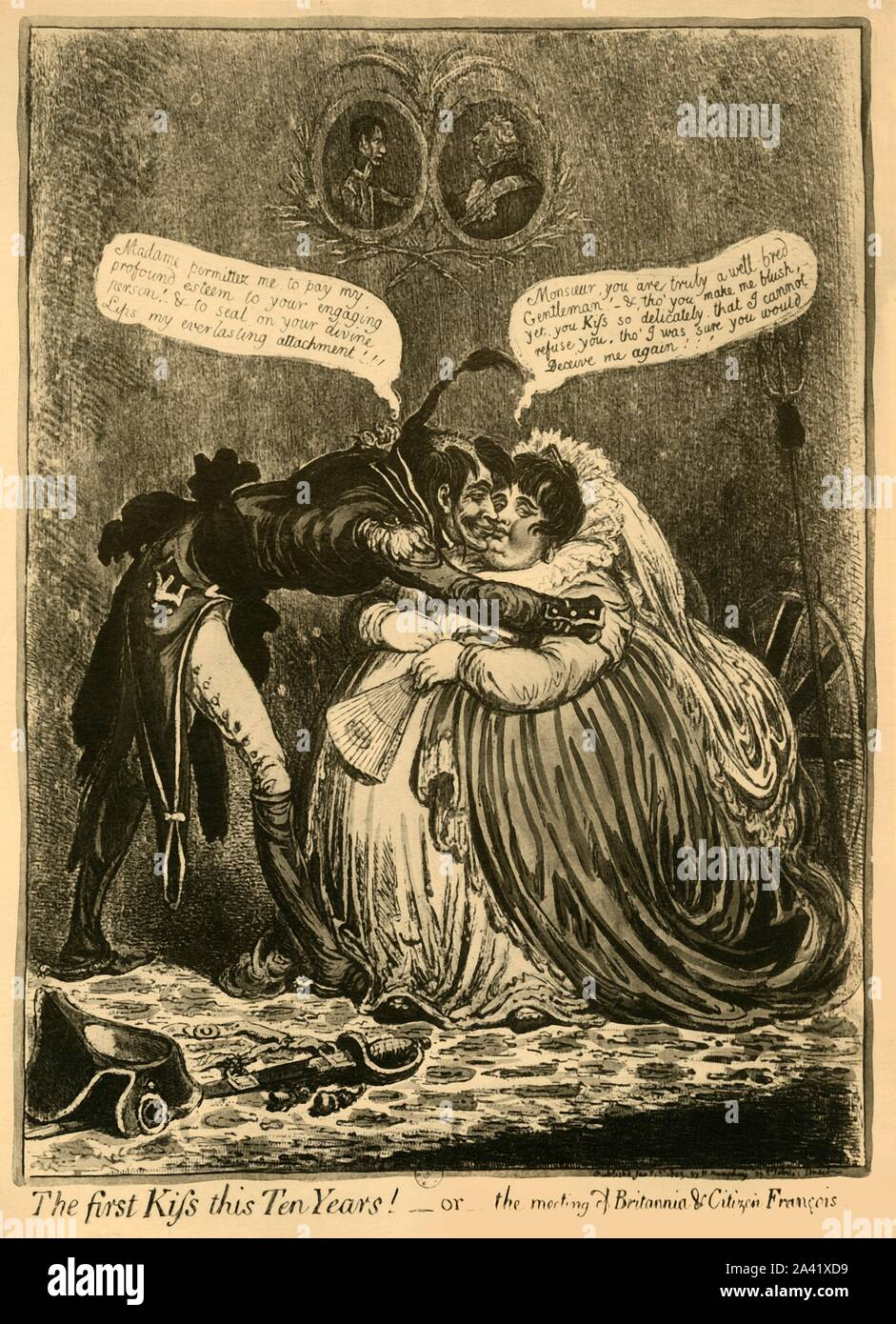 'The first Kiss this Ten Years! - or - the meeting of Britannia & Citizen François', 1803, (1921). Citizen François (representing France): 'Madame, permittez me, to pay my profound esteem to your engaging person! & to seal on your divine Lips my everlasting attachment!!!'. Britannia replies: 'Monsieur, you are truly a well-bred Gentleman! - & tho' you make me blush, yet, you Kiss so delicately, that I cannot refuse you; tho' I was sure you would Deceive me again!!!' Above them are portraits of George III and Napoleon, facing each other. After an engraving by James Gillray Stock Photo