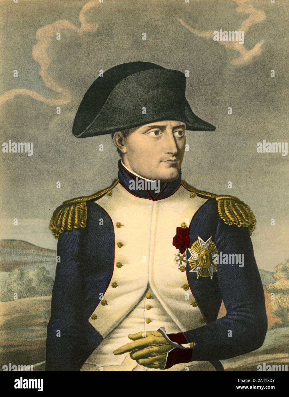 """'Napoleon the Great, Emperor of the French, King of Italy', c1806, (1921). 'Napoleon Le Grand, Empereur des Français, Roi d'Italie'. Portrait of Napoleon Bonaparte (1769-1821) in cocked hat and uniform. Engraving by Ruotte after Robert Lefèvre. From """"Napoleon"""", by Raymond Guyot, [H. Floury, Paris, 1921] Stock Photo"""