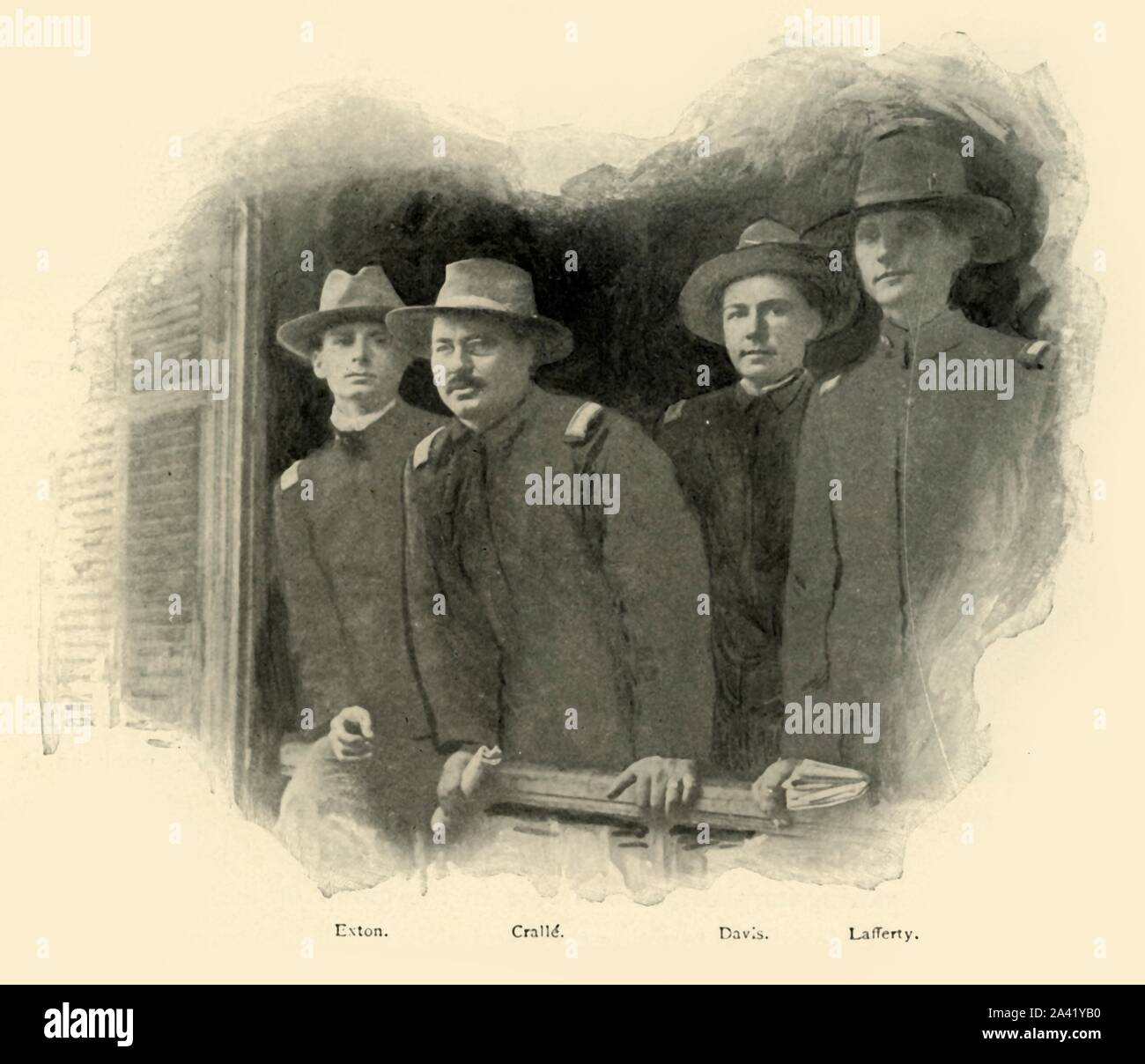 """'Graduates of '98', Spanish-American War, June 1898, (1899). US Army soldiers Lieutenant C. W. Exton, (20th Infantry), Crallé, Davis and Lafferty at Tampa Bay, Florida, USA, before leaving for Cuba: 'the last photograph taken of Lafferty and Davis...killed before San Juan...They had all four been graduated from West Point only a few brief weeks previously'. From """"The Little I saw of Cuba"""" by Burr McIntosh, with photographs by the author. (In 1898, American actor and journalist William Burr McIntosh went to Cuba to cover the Spanish-American War for """"Leslie's Weekly"""" as Stock Photo"""