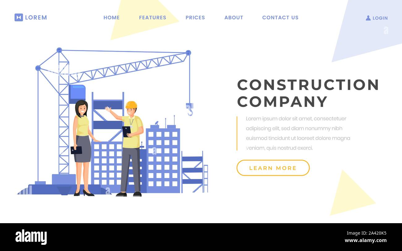Construction Company Landing Page Vector Template Building
