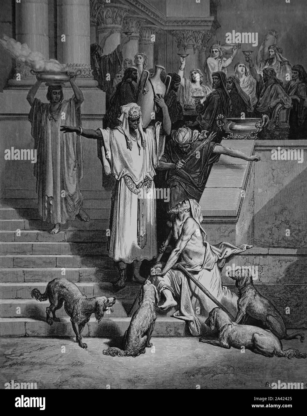 Parable of the Rich man and Lazarus. Gospel of Luke (Luke 16:19-31). Engraving. Bible Illustration by Gustave Dore. 19th century. Stock Photo