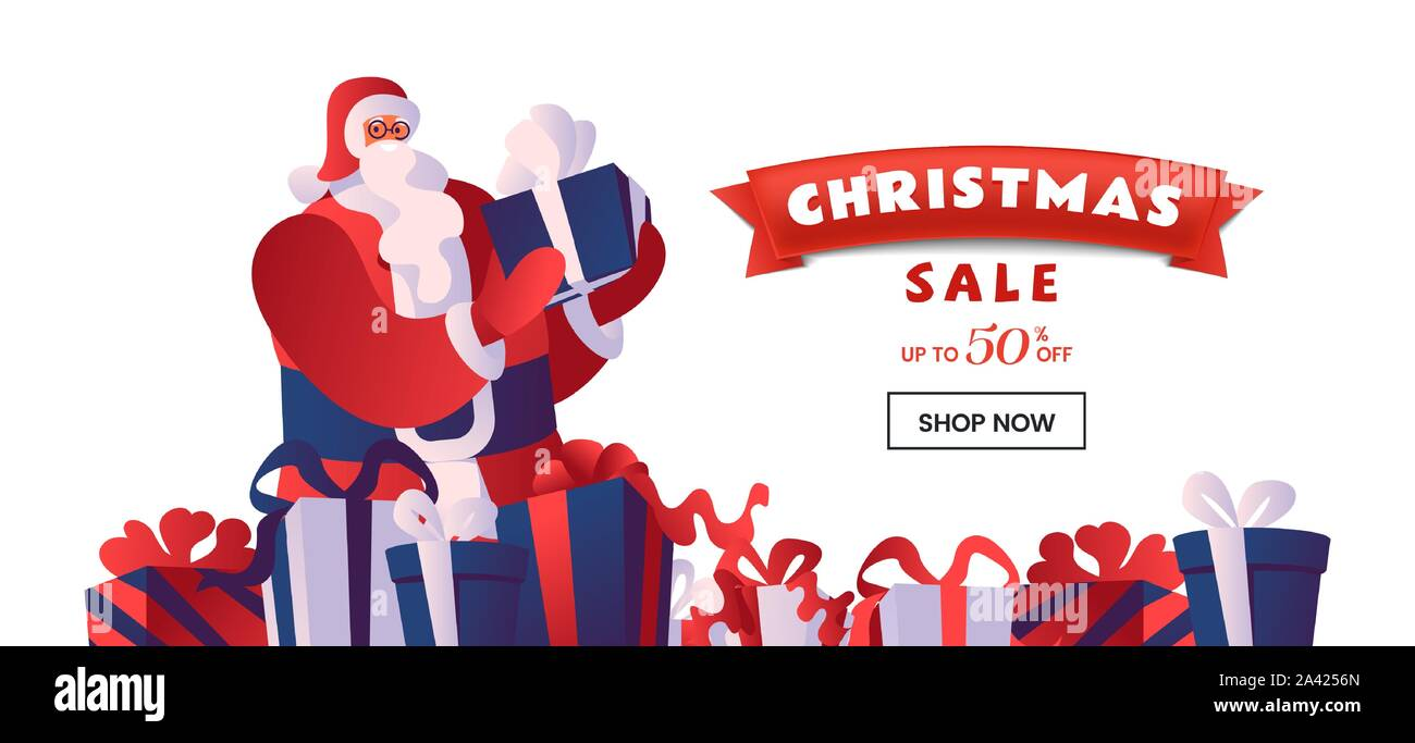 Christmas sale flat vector landing page template. Santa with gift boxes. Winter holidays 50 percent discount offer, total clearance, special price advert for online store homepage design layout Stock Vector