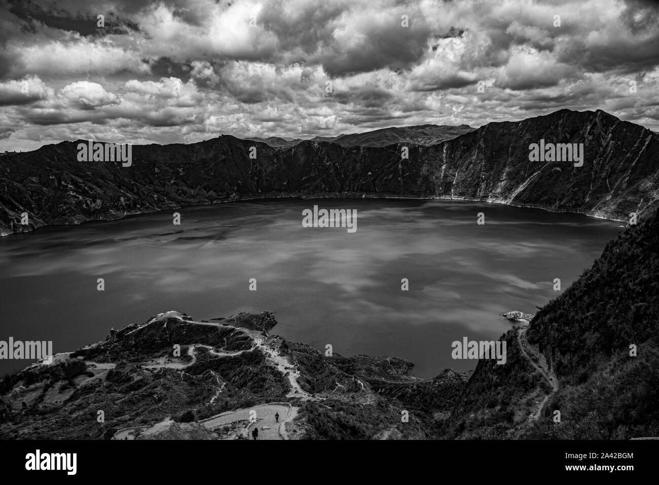 Panorama of the Quilotoa volcano with its water-filled caldera (Ecuador) Stock Photo