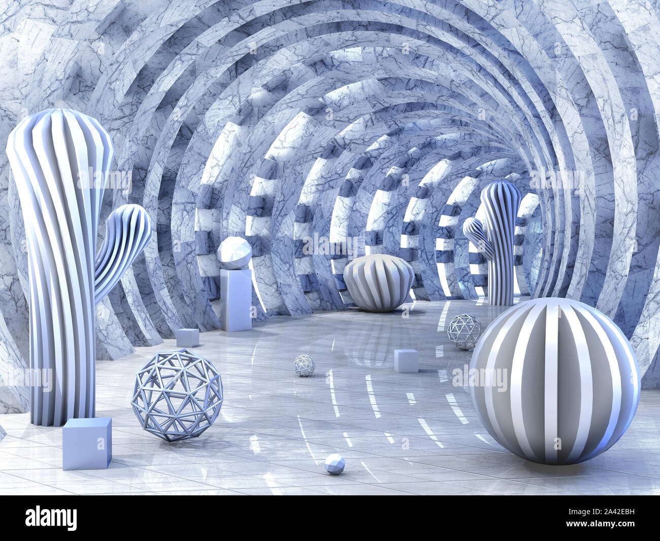 Round tunnel pierced with light with 3D balls and fantastic forms Stock Photo