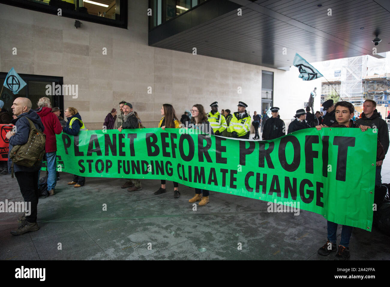 London, UK. 11 October, 2019. Climate activists from Extinction Rebellion protest outside the BBC's New Broadcasting House on the fifth day of International Rebellion protests. They were demanding that the broadcaster 'tell the truth' regarding the climate emergency. Credit: Mark Kerrison/Alamy Live News Stock Photo