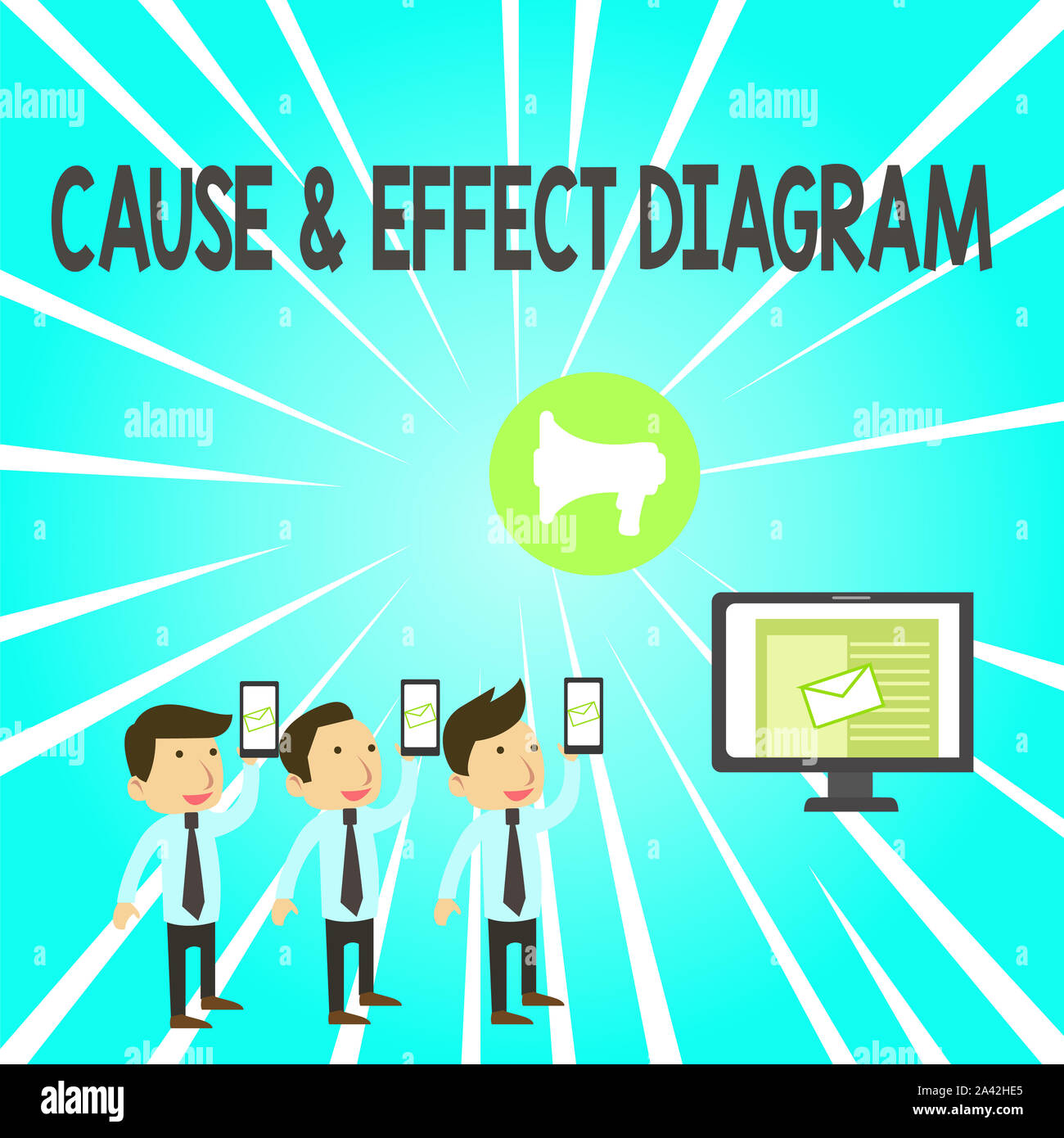 Handwriting text Cause And Effect Diagram. Conceptual photo Visualization tool to categorize potential causes SMS Email Marketing Media Audience Attra Stock Photo