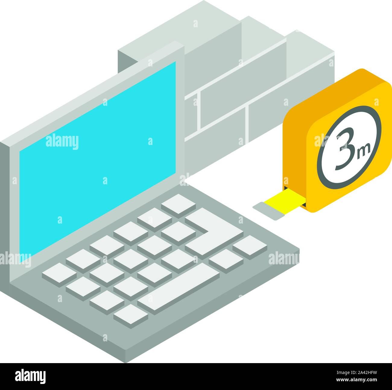 Construction estimate icon, isometric style Stock Vector