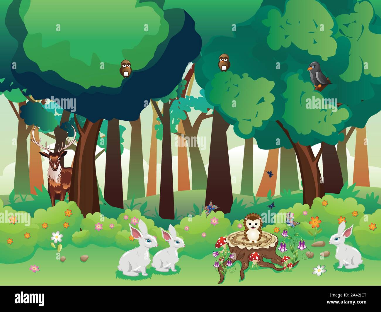 Cartoon Summer Forest Landscape With Green Shrubs Trees And Cute Animals Stock Vector Image Art Alamy Tree clipart cartoon forest material big tree illustration. https www alamy com cartoon summer forest landscape with green shrubs trees and cute animals image329513992 html