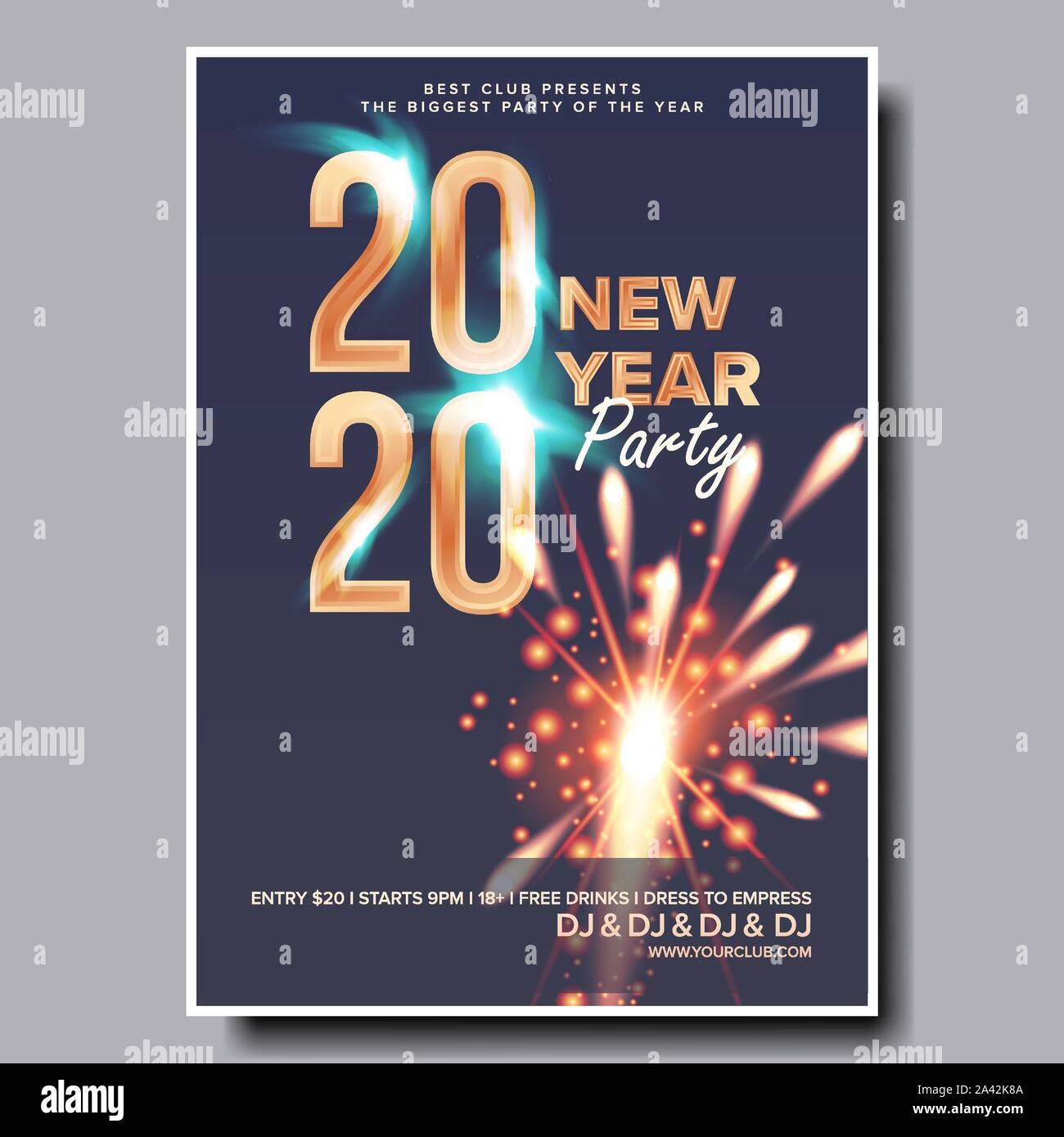 Christmas Music Concerts 2020 2020 Christmas Party Flyer Poster Vector. Happy New Year. Night