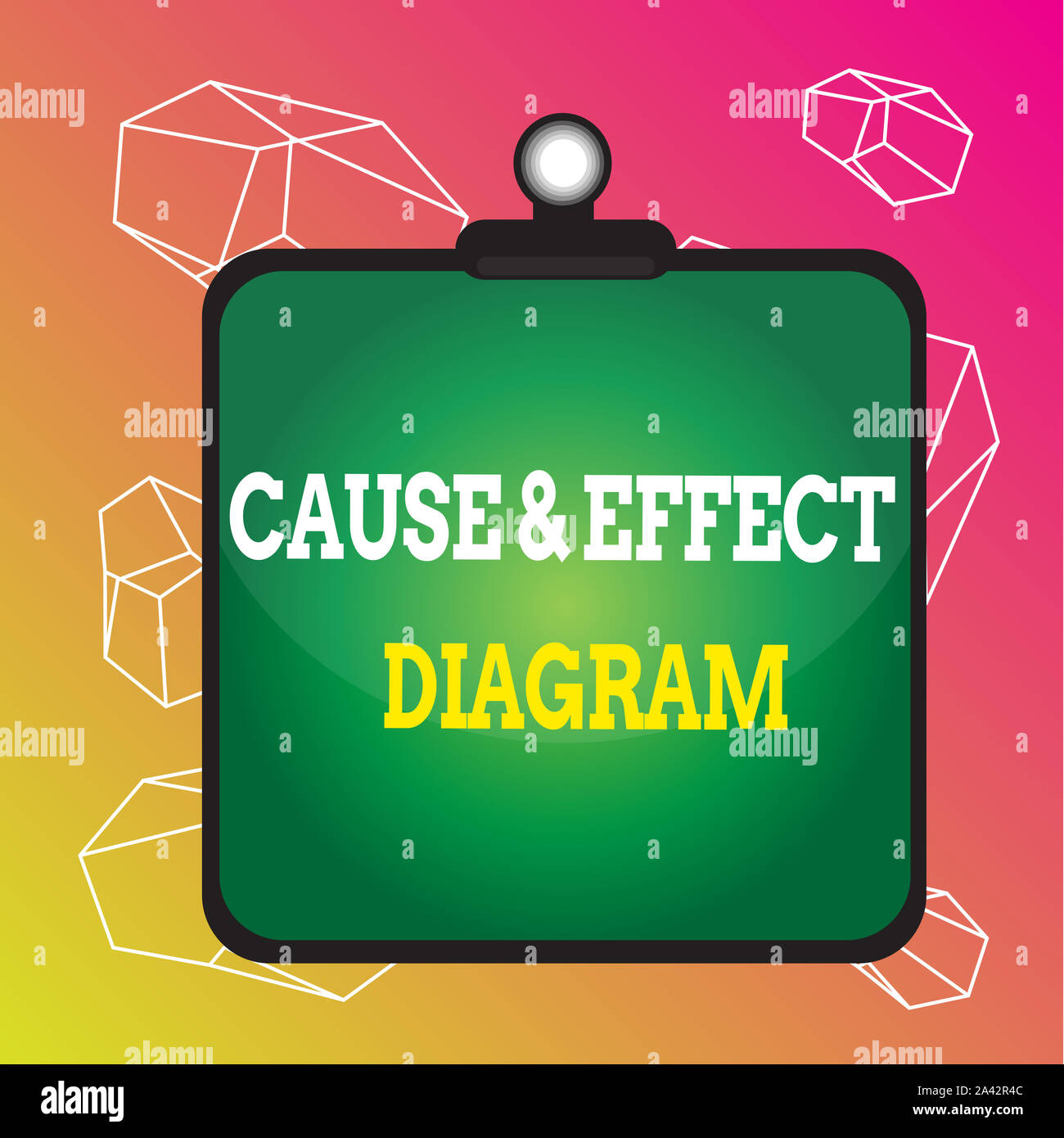 Word writing text Cause And Effect Diagram. Business photo showcasing Visualization tool to categorize potential causes Clipboard colorful background Stock Photo