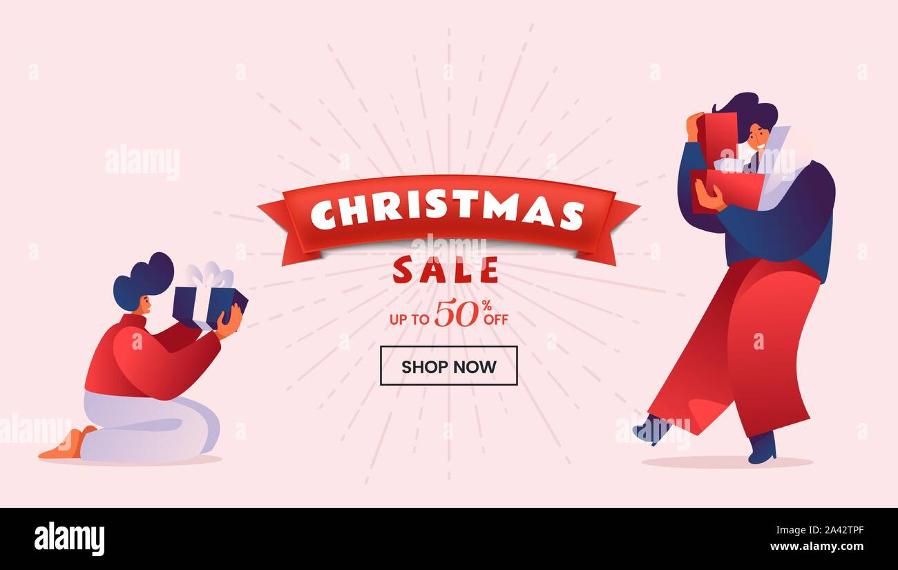 Christmas discount flat landing page template. People holding wrapped gift boxes. Winter holidays 50 percent price reduction, special price advert for online store homepage design layout Stock Vector