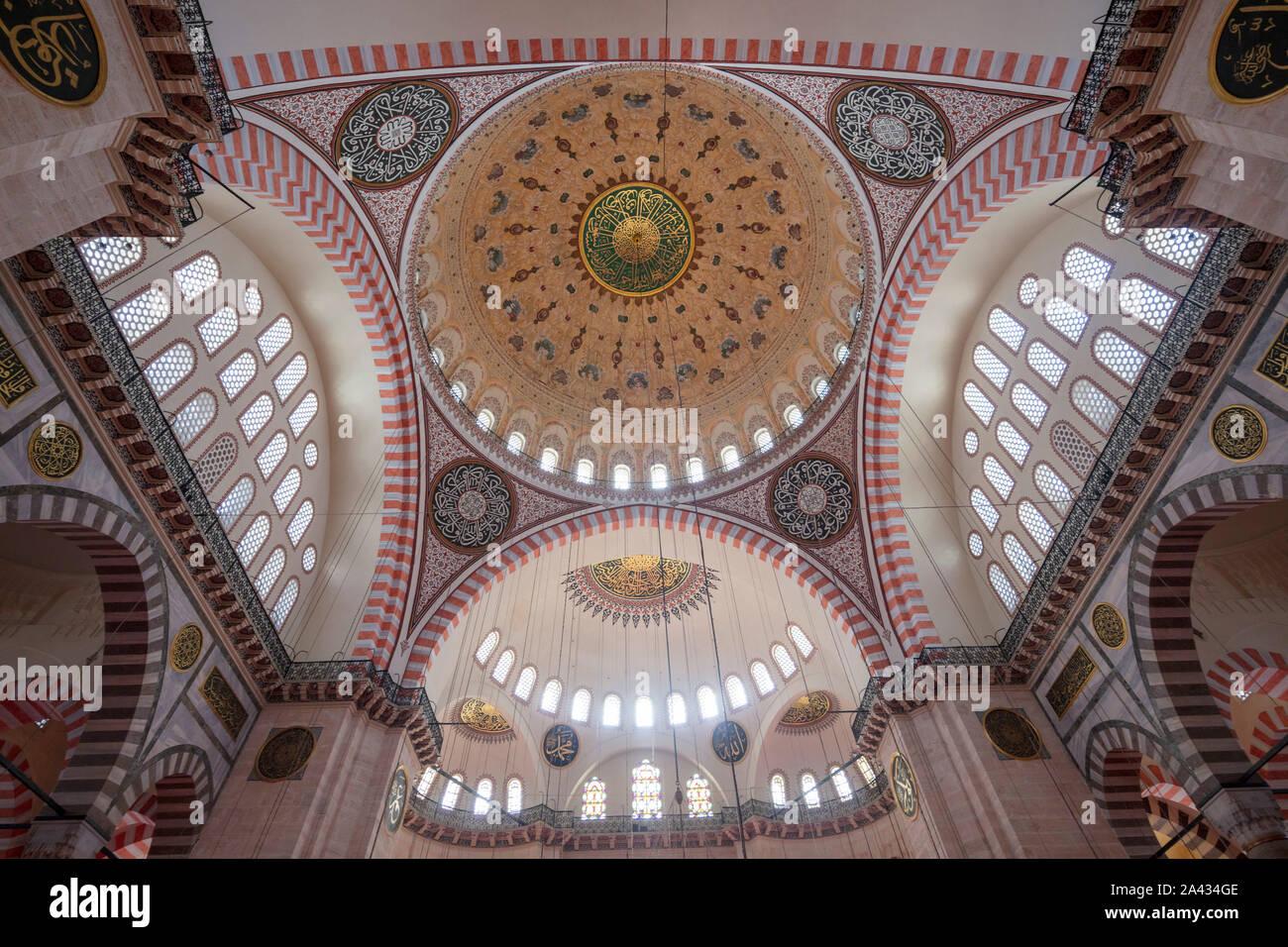 Interior, Süleymaniye mosque, Istanbul,Turkey Stock Photo
