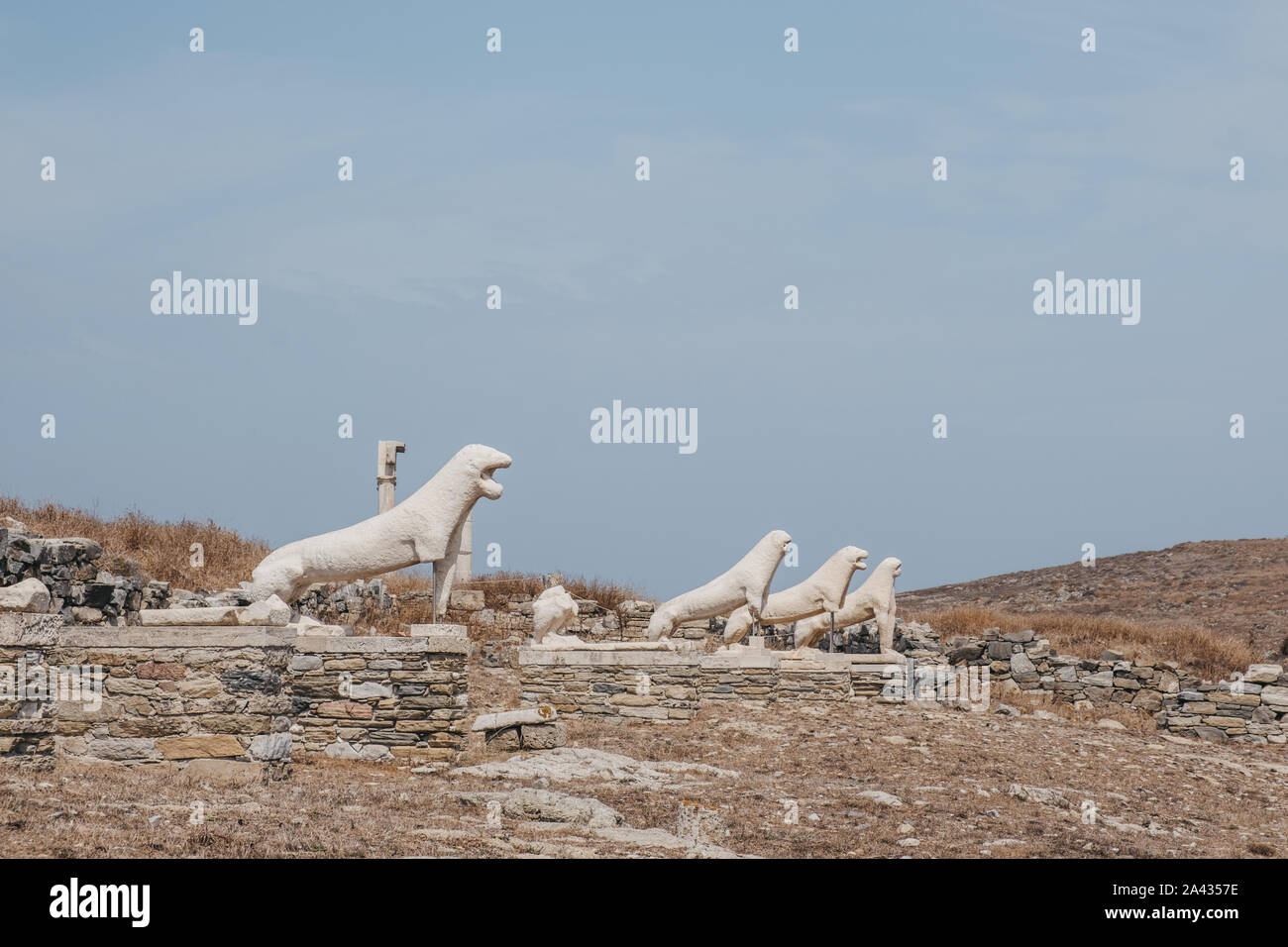 Naxian Lions statues on The Terrace of the Lions on the Greek island of Delos, archaeological site near Mykonos in the Aegean Sea Cyclades archipelago Stock Photo