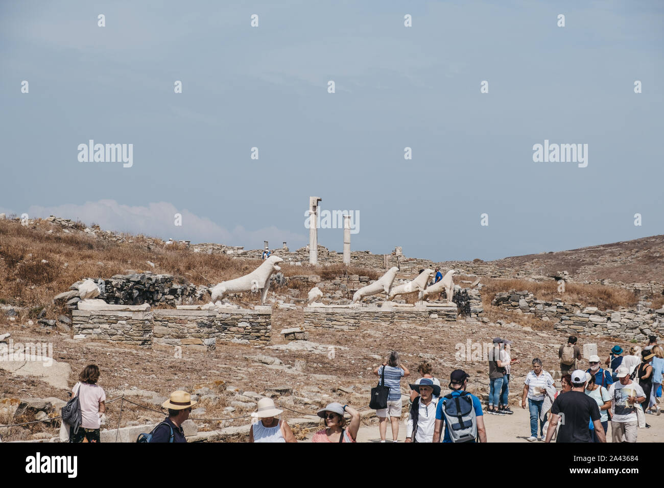 Delos, Greece - September 20, 2019: Naxian Lions statues on The Terrace of the Lions on the Greek island of Delos, archaeological site near Mykonos in Stock Photo