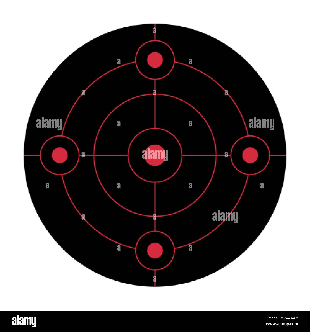 Black circular shooting target for the practice on a gun range Stock Vector