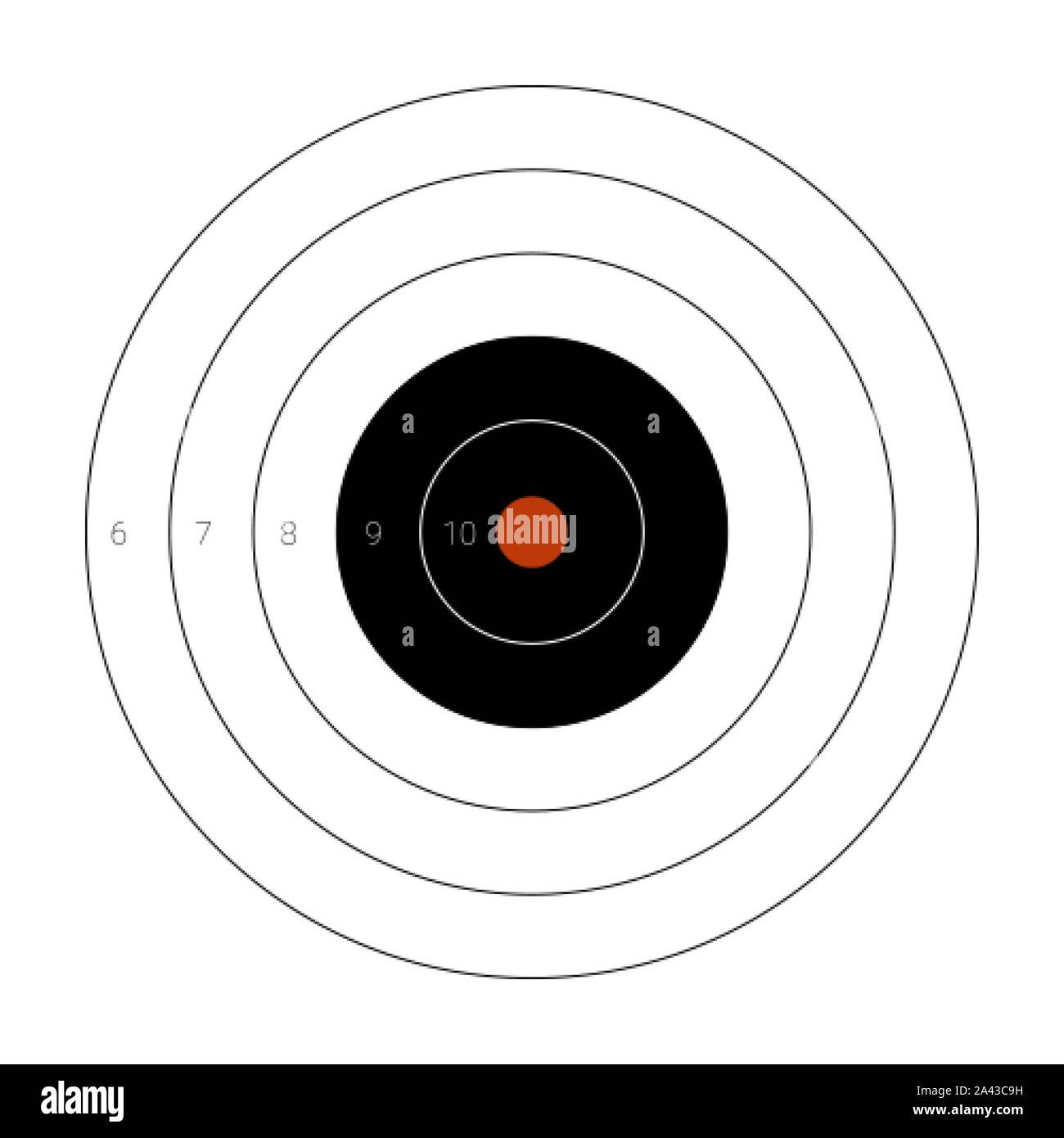 Circular shooting target with a marked bullseye for firing practice on a range Stock Vector
