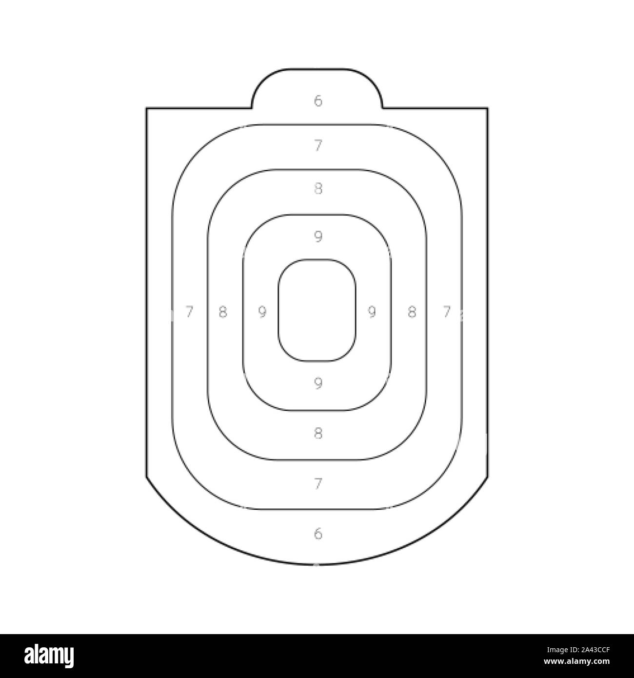 Outlined human torso shaped target for a shooting practice on a gun range Stock Vector