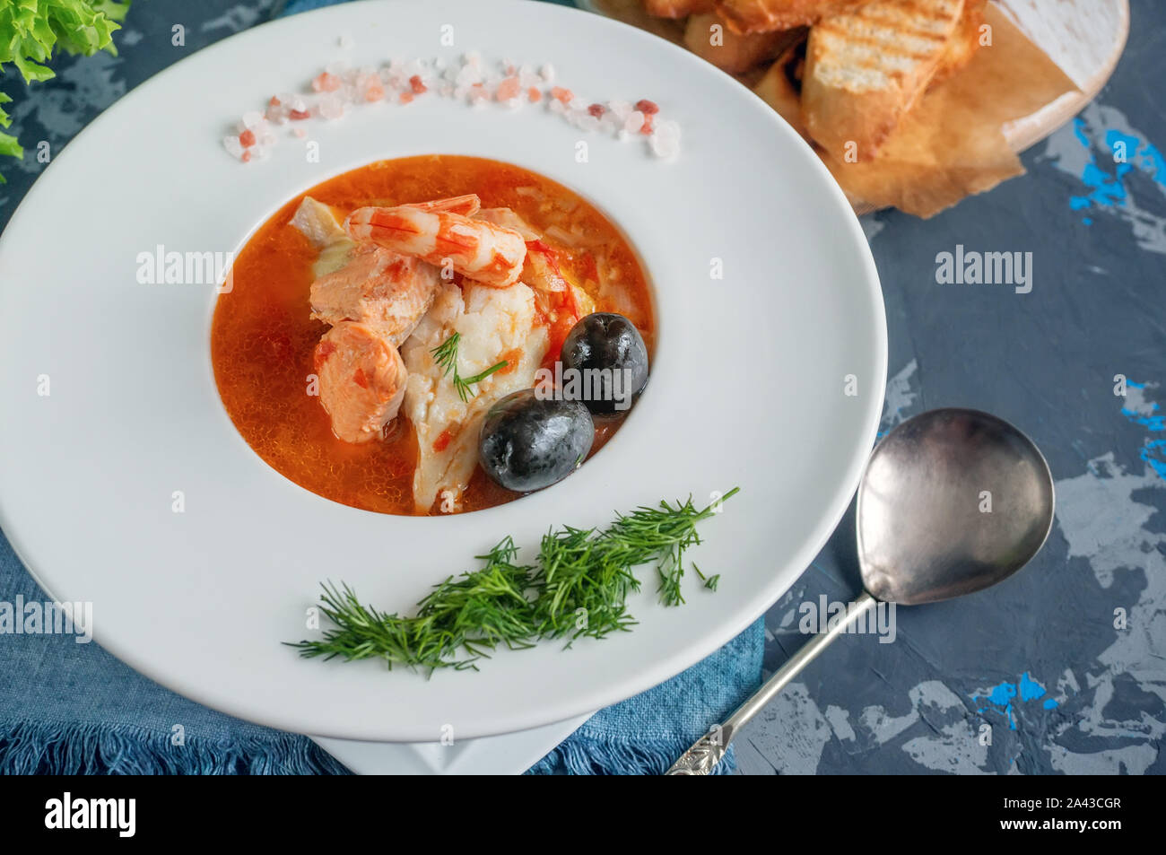 Diet soup of seafood and fish of ...