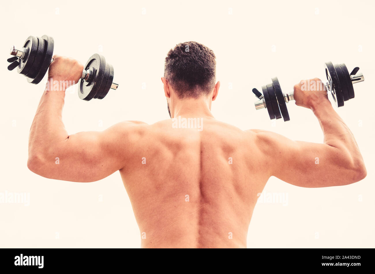 Actions speak louder than coaches. Dumbbell exercise gym. Muscular man exercising with dumbbell rear view. Sportsman with strong back and arms. Sport equipment. Bodybuilding sport. Sport lifestyle. Stock Photo